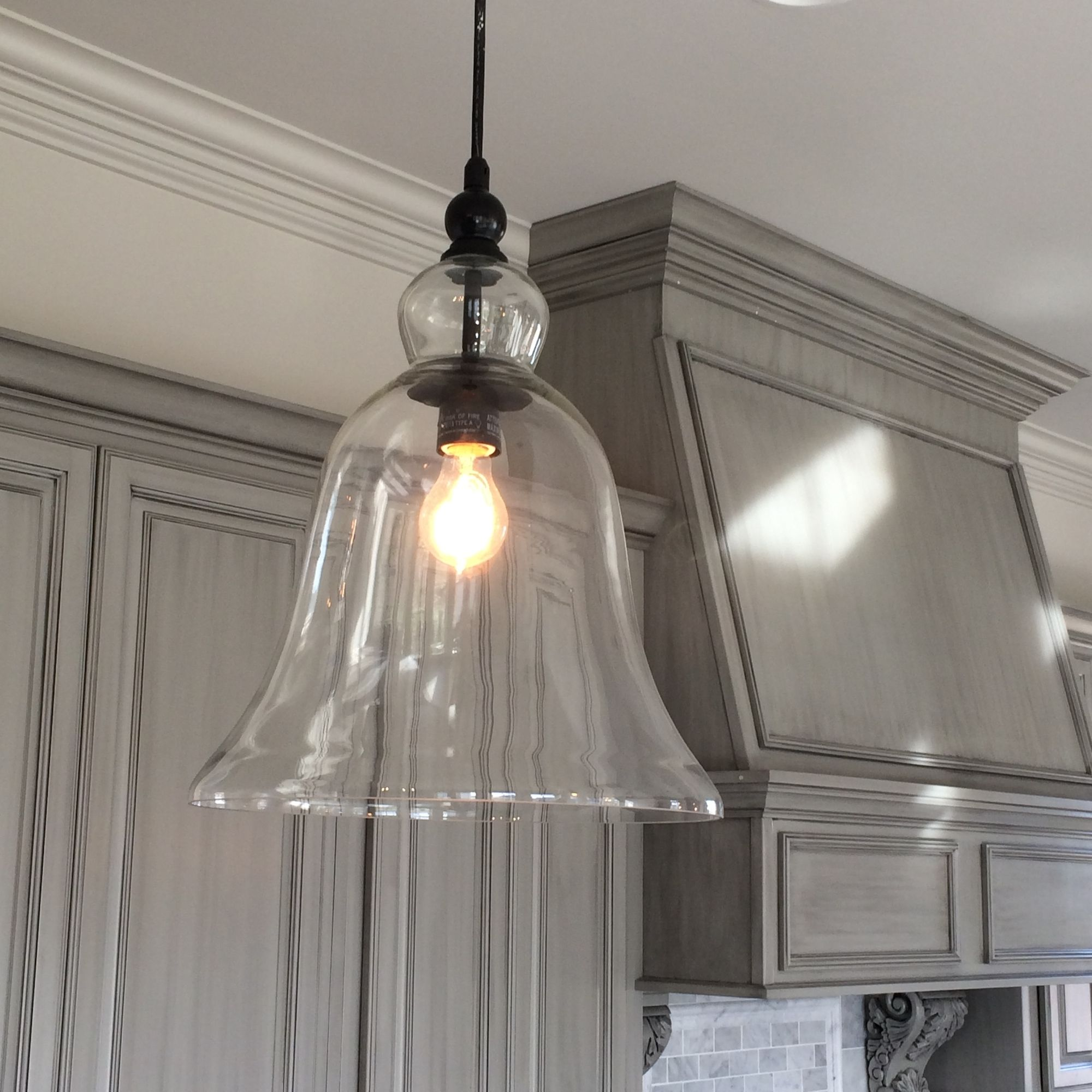 kitchen light pendants Kitchen Large Glass Bell Hanging Pendant Light