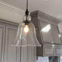 Kitchen, Large Glass Bell Hanging Pendant Light | Favorite ...