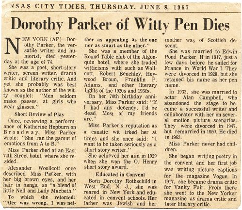 dorothy parker obituary, 1967 everything Pinterest Dorothy - resume dorothy parker