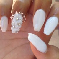 White 3d nail art flowers coffin acrylic nails | Nail Art ...