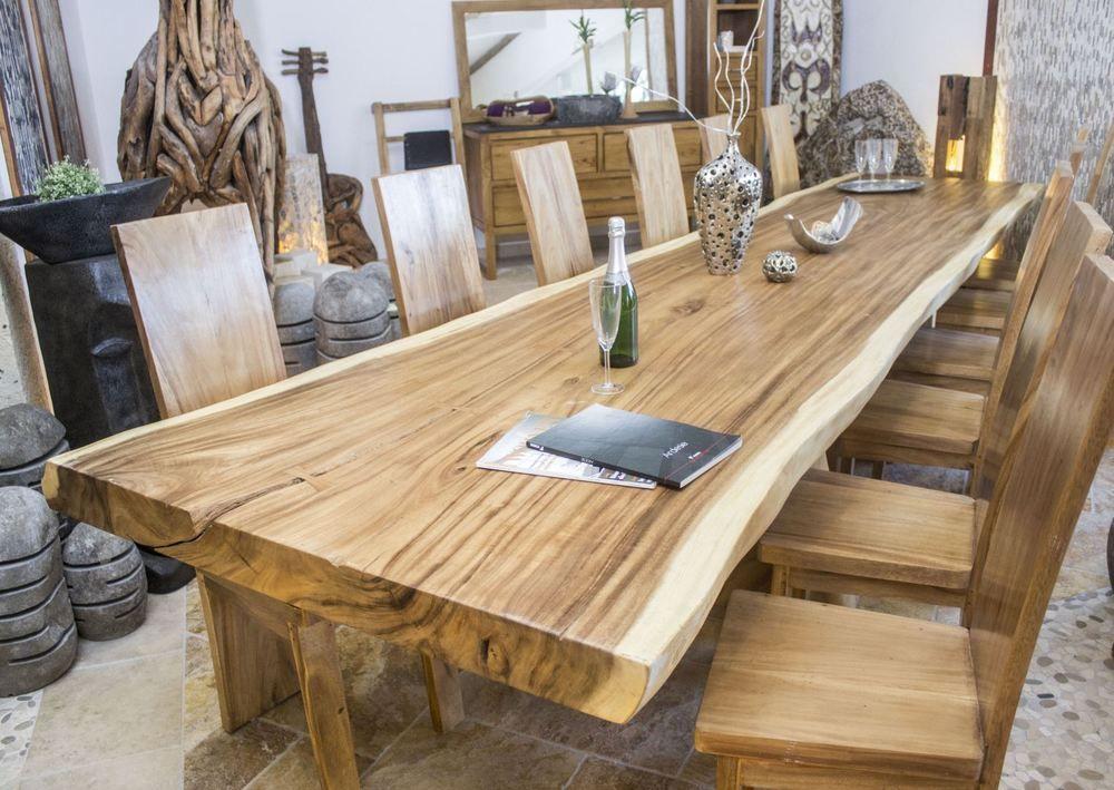 Esstisch \/ Tischplatte Konferenztisch Massivholz Tisch Baumstamm - designer stuehle metall baumstamm