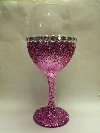 Handmade Glitter Stemmed Wine Glasses by KraftyKenzie on ...