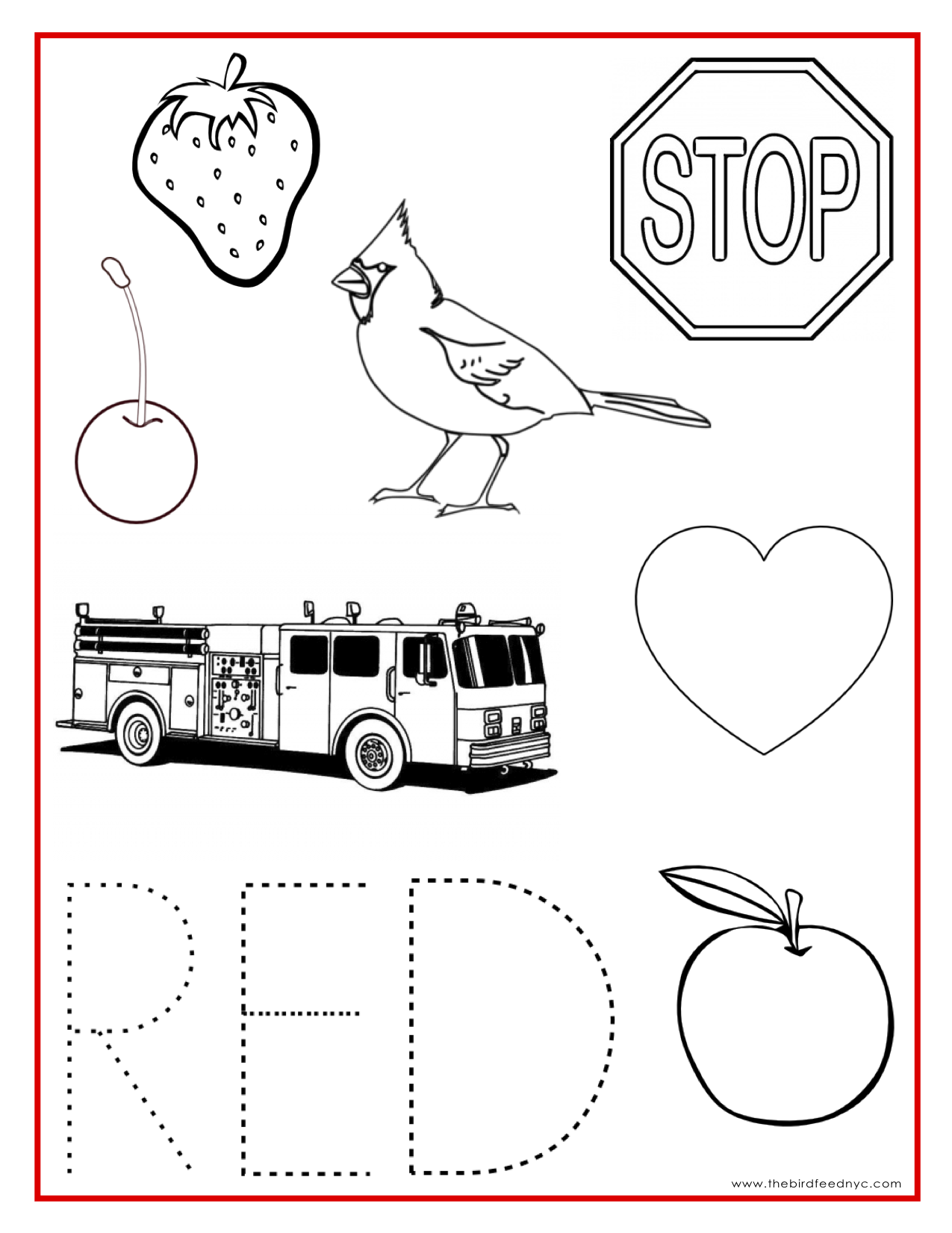 Red color activity sheet