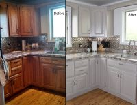 painting oak kitchen cabinets before and after with white ...
