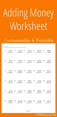 Adding Money Worksheet - Customizable and Printable | Math ...