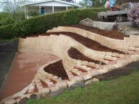 retaining wall in front of concrete ditch