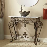 Vanna Wrought Iron Console Vanity for Vessel Sink with ...