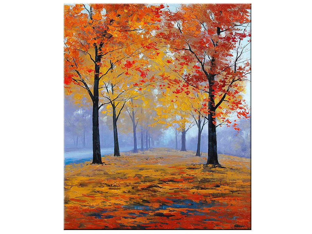Schilderij Herfst Autumn Oil Painting Fall Trees Impressionism Misty Road