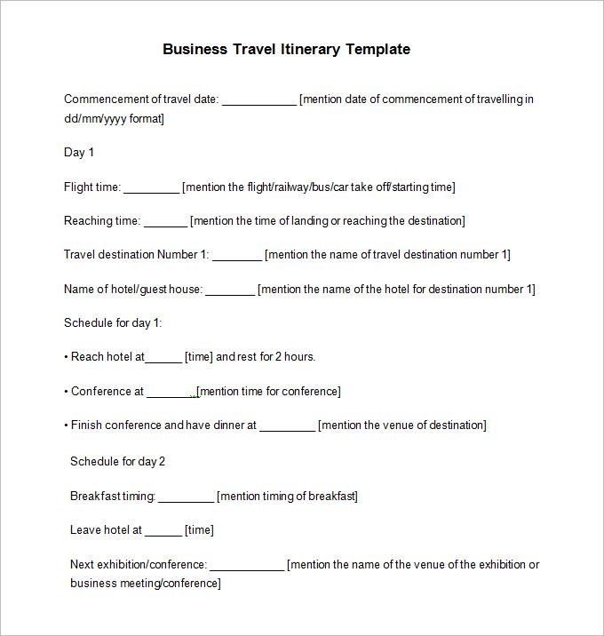 Travel Itinerary Example - 12 Free Word, PDF Documents Download - agenda template example