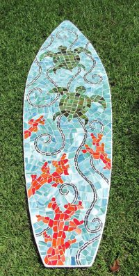 Stained Glass Mosaic Surfboard 5ft Wall Art on Wood Base ...
