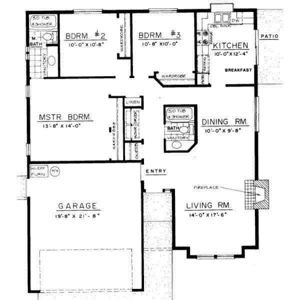 3 Bedroom Bungalow Floor Plans 3-Bedroom Bungalow Design - bungalow floor plans
