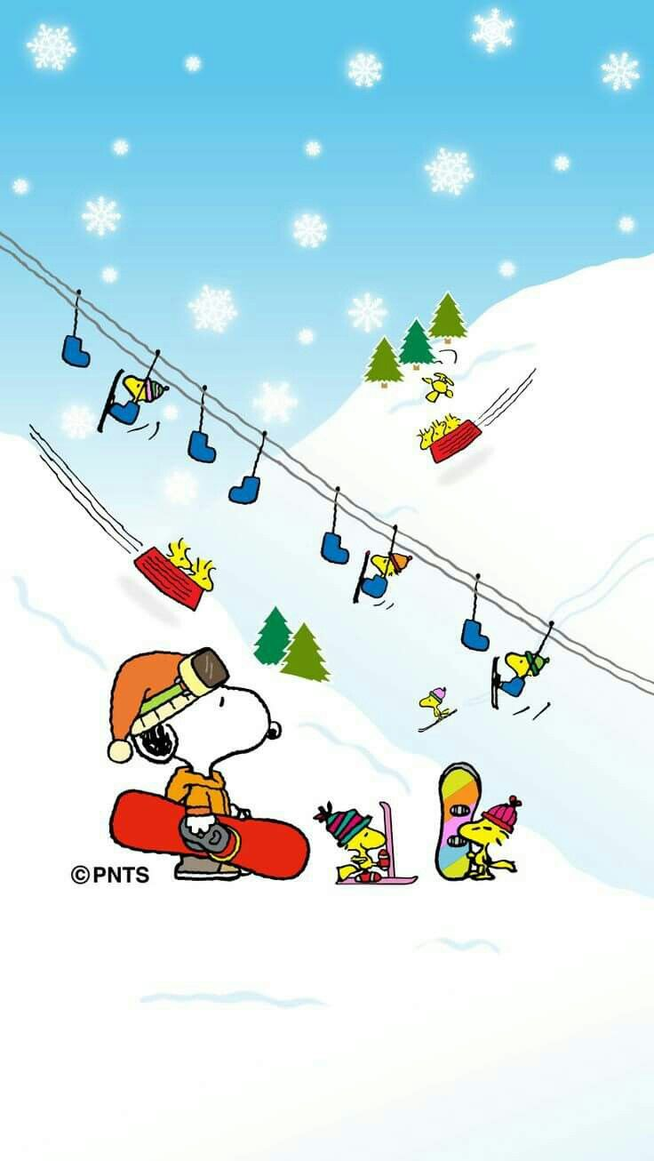 Peanuts Wallpaper Fall Snoopy Woodstock And Friends Skiing And Snowboarding On A