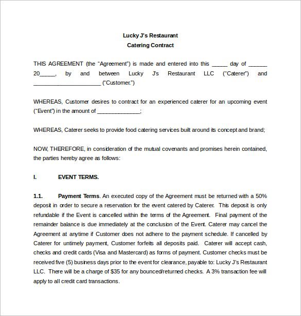 Restaurant Catering Contract Word Template Free Download - catering contract template
