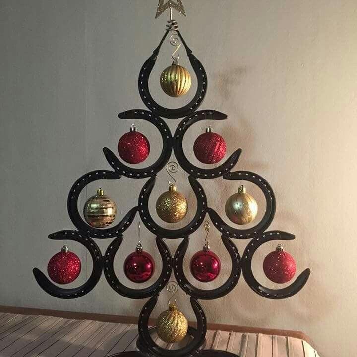 Horseshoe Christmas tree Crafty Pinterest Horseshoe - western christmas decorations