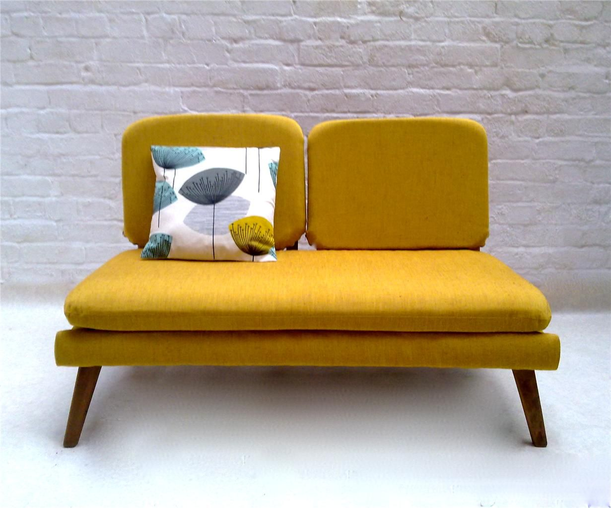 Retro Couch Mustard Yellow Mid Century Mod Couch Furnitures