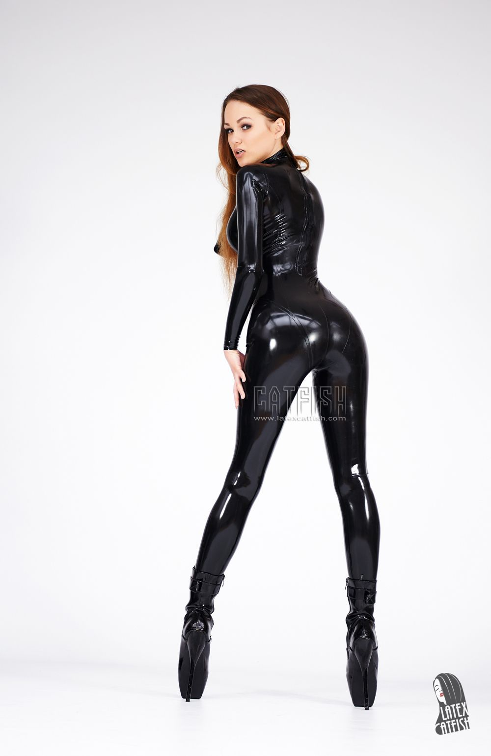 Black Removable Wallpaper Womans Fashion Catsuits Made In Natural Rubber Latex