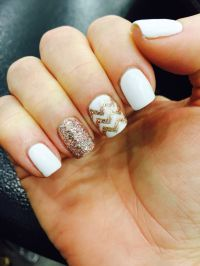 White & Rose Gold Gel Nails | GEL NAIL DESIGNS | Pinterest ...