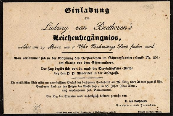 Invitation to Beethovenu0027s funeral, March 1827 Beethoven in a - invitation for funeral