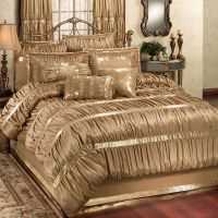 Splendor Shirred Faux Silk Dark Gold Comforter Bedding ...