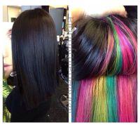 Peek a boo rainbow hair color #joico LOVE IT | Cheveux ...