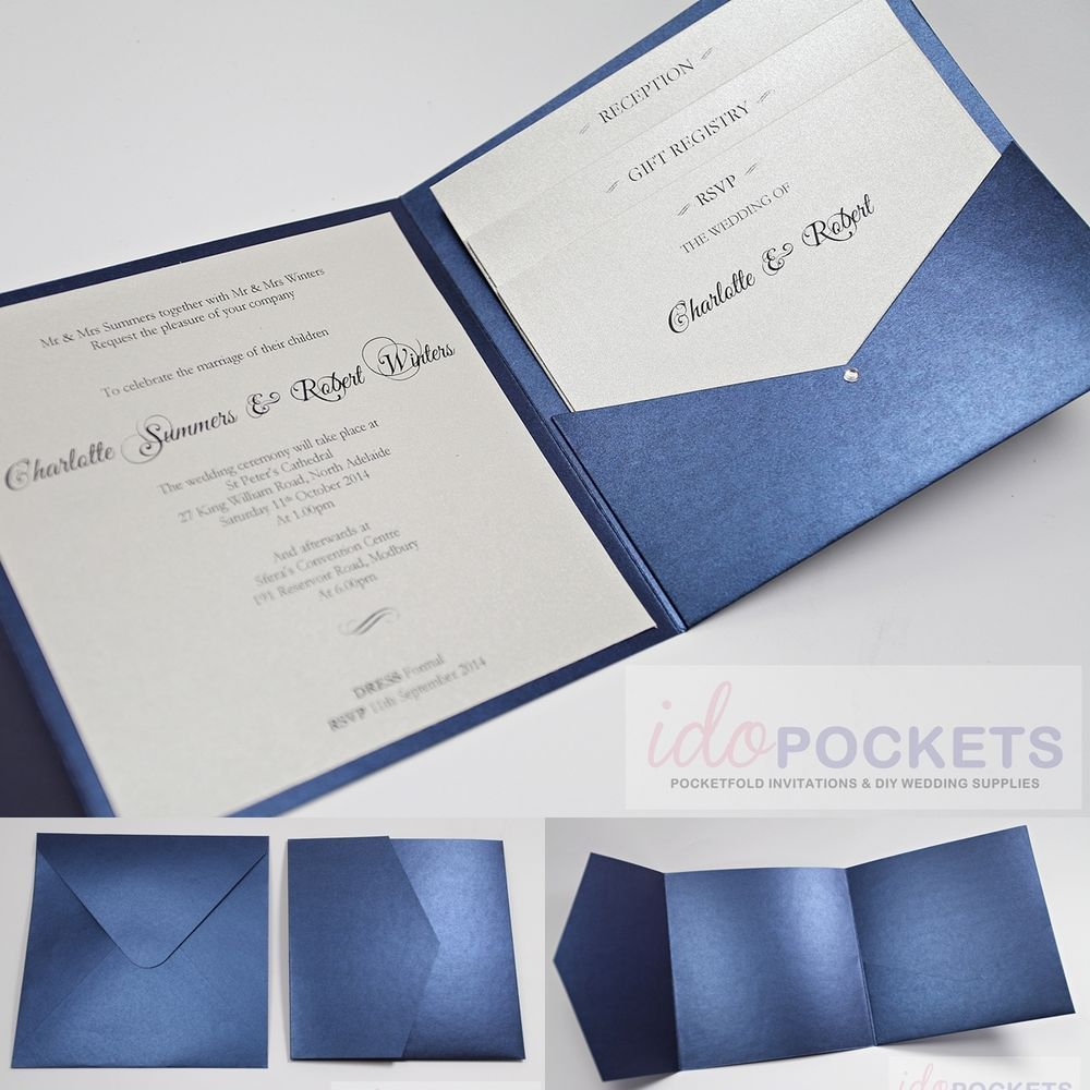 wedding invitation envelopes ROYAL DARK BLUE SQUARE WEDDING INVITATION ENVELOPES DIY POCKET MM 6 6