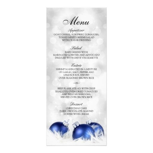 Christmas And Holiday Dinner Party Menu Template 4x925 Card - dinner party menu template