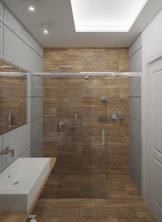 kleines bad ideen fliesen holzoptik begehbare dusche glas - kleines badezimmer fliesen ideen