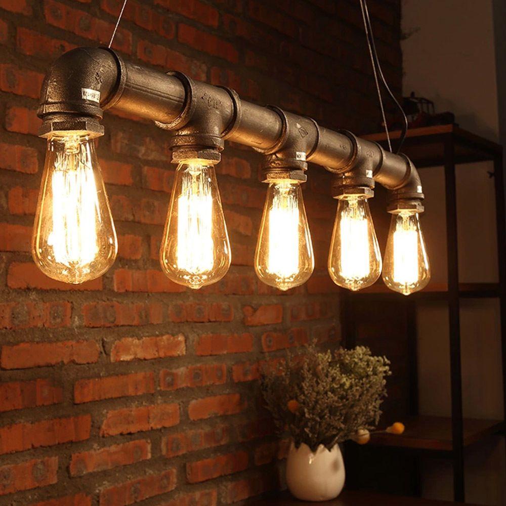 Details about new industrial chandelier pendant loft lamp ceiling metal pipe edison down light