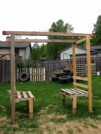 Wood Pallet Pergola | from a pallet cut in half and the ...