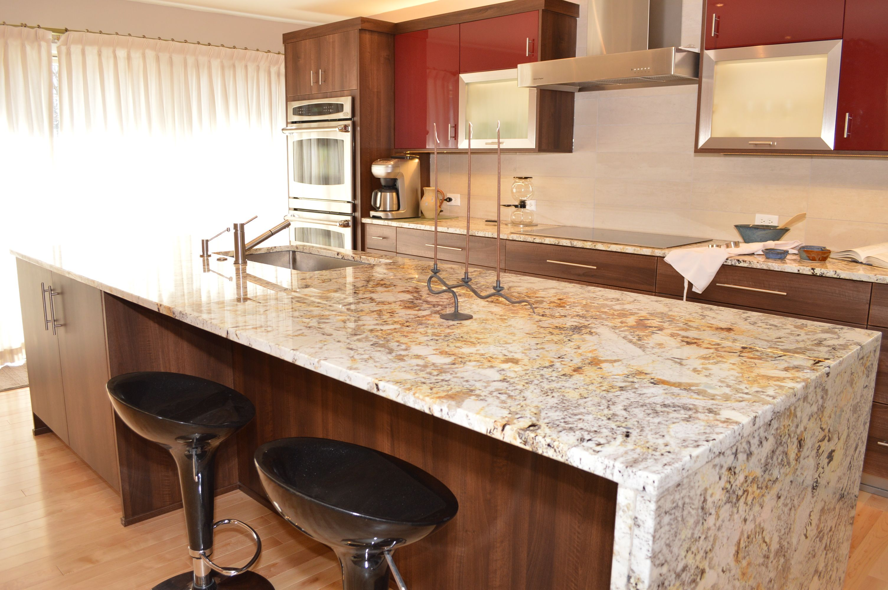 Granite Kitchen Islands A Quotwaterfall Quot Edged Granite Island Is Fabricated For A