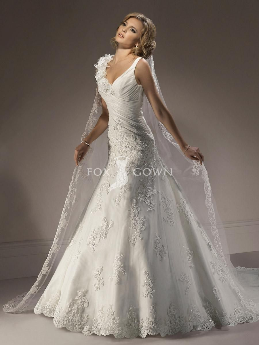 wedding dresses with lace designer lace wedding dress with romantic flowers across shoulder and scallop edged veil