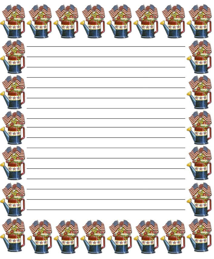 funny dinosaur and beautiful dog Free printable kids stationery - lined border paper