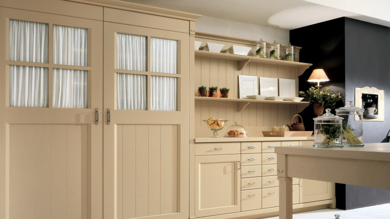 Cucina A Gas Stile Country Cucina In Stile Country Chic, Finitura Canapa. Parete