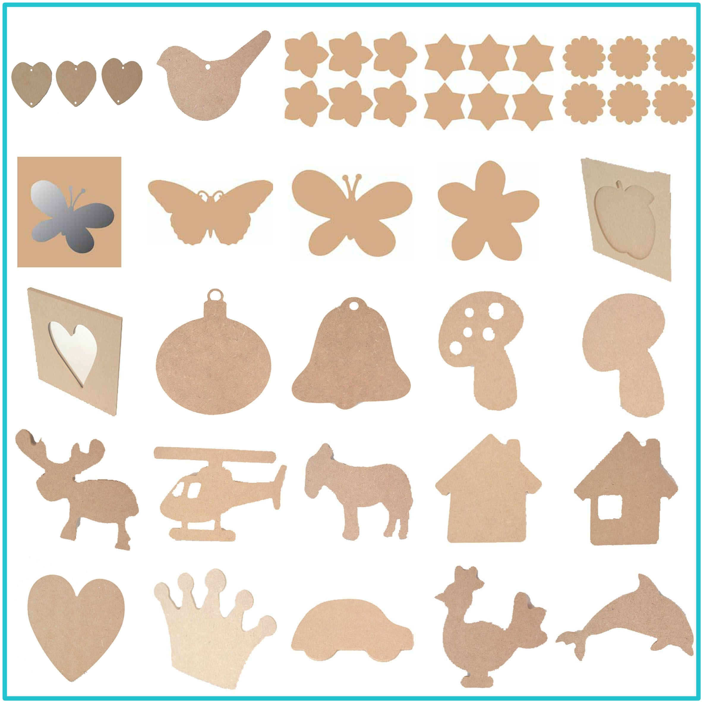 Lots of wood shapes ready to paint decoupage or embellish