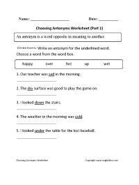 Choosing Antonyms Worksheets Part 1 | Great English Tools ...