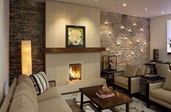Natursteinwand im Wohnzimmer beleuchtung deko idee Wohnen - wohnzimmer deko ideen