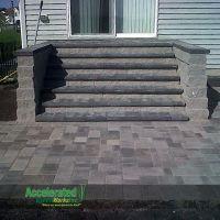 Versa-Lok monumental steps lead from mid-level patio door ...