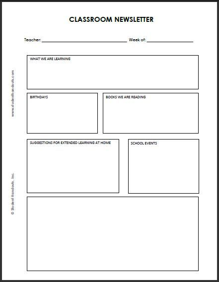 Blank Classroom Newsletter for Teachers and Students Teaching - news letter formats