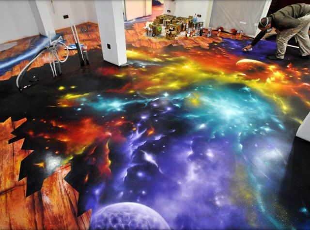 Entire Floor Painted Like You39re Falling Into Space