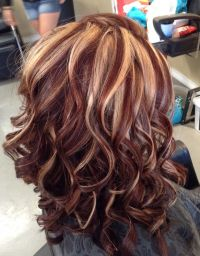 Auburn color with blonde highlights by Melissa at Southern ...