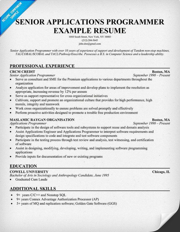 Senior Applications #Programmer Resume Example (resumecompanion - additional skills on resume