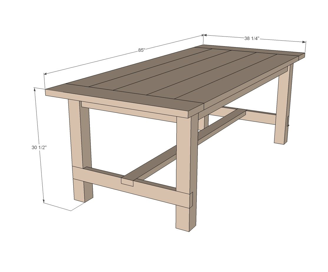 diy kitchen table plans Ana White Build a Farmhouse Table Updated Pocket Hole Plans Free and Easy