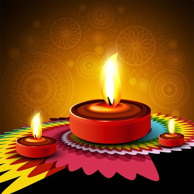 Animated Diwali Diya Wallpapers Free Vector 3d Glowing Diya With Paper Cutting Geometric