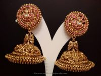 Gold Antique Ruby Jhumkas from NAJ | Gold, Jewel and ...