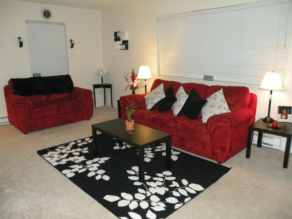 red,black,and gray family room ideas Red, Black and White Room - black and red living room ideas