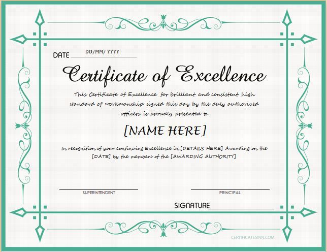 ... Certificate Of Excellence For MS Word DOWNLOAD At Http   Certificate Of Excellence  Template Word ...