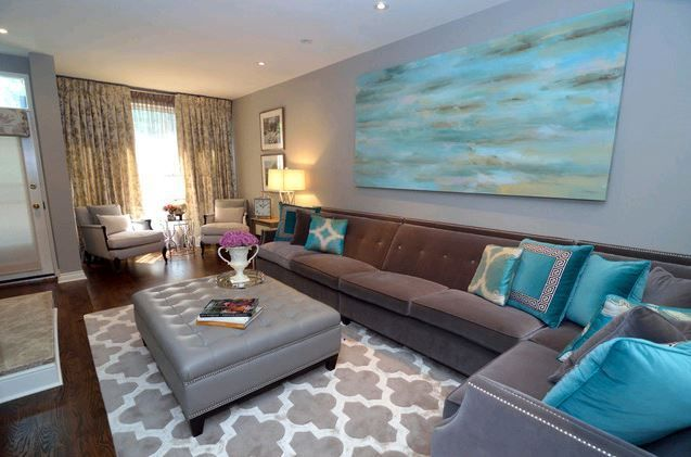 grey and turquoise living room Gorgeous turquoise and grey - grey and turquoise living room