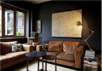 Melbourne living room with great contrast of dark walls ...