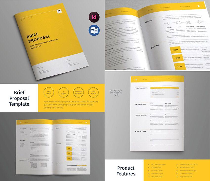Business Brief Proposal Template Design Editorial Pinterest - graphic design proposal template