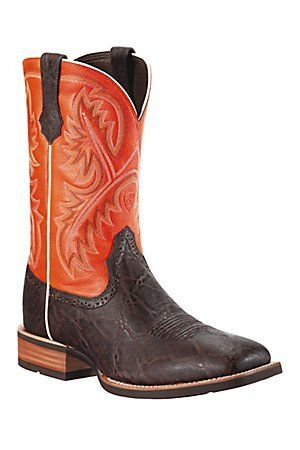 Ariat Quickdraw Men39s Chocolateelephant Print W Orange Top